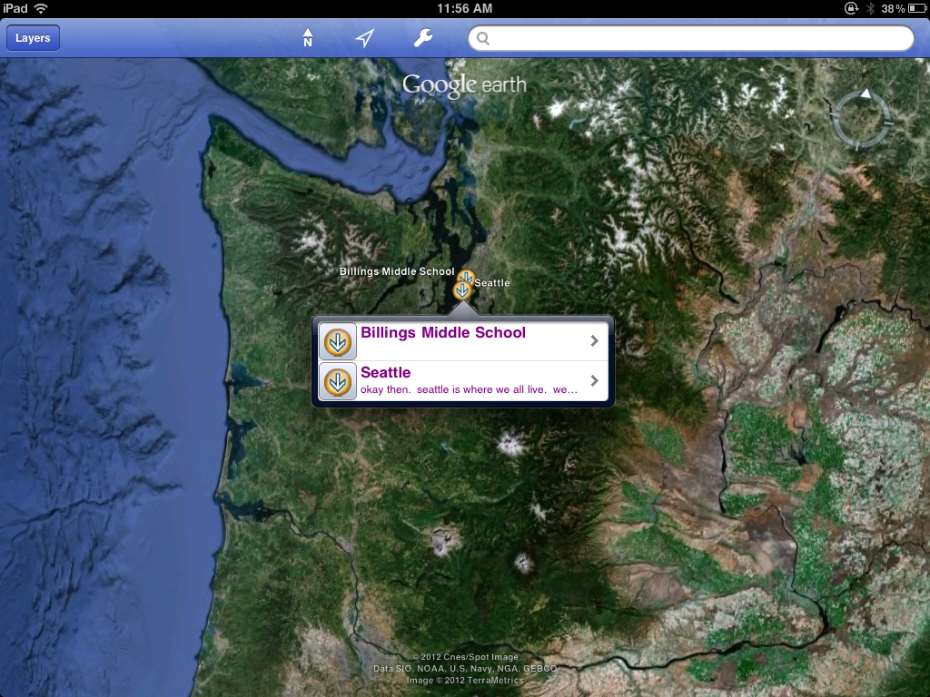 Google Earth preview of description box for iPad